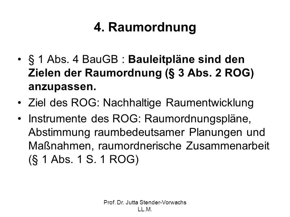 Prof. Dr. Jutta Stender-Vorwachs LL.M. 4. Raumordnung § 1 Abs. 4 BauGB : Bauleitpläne sind den Zielen der Raumordnung (§ 3 Abs. 2 ROG) anzupassen. Zie