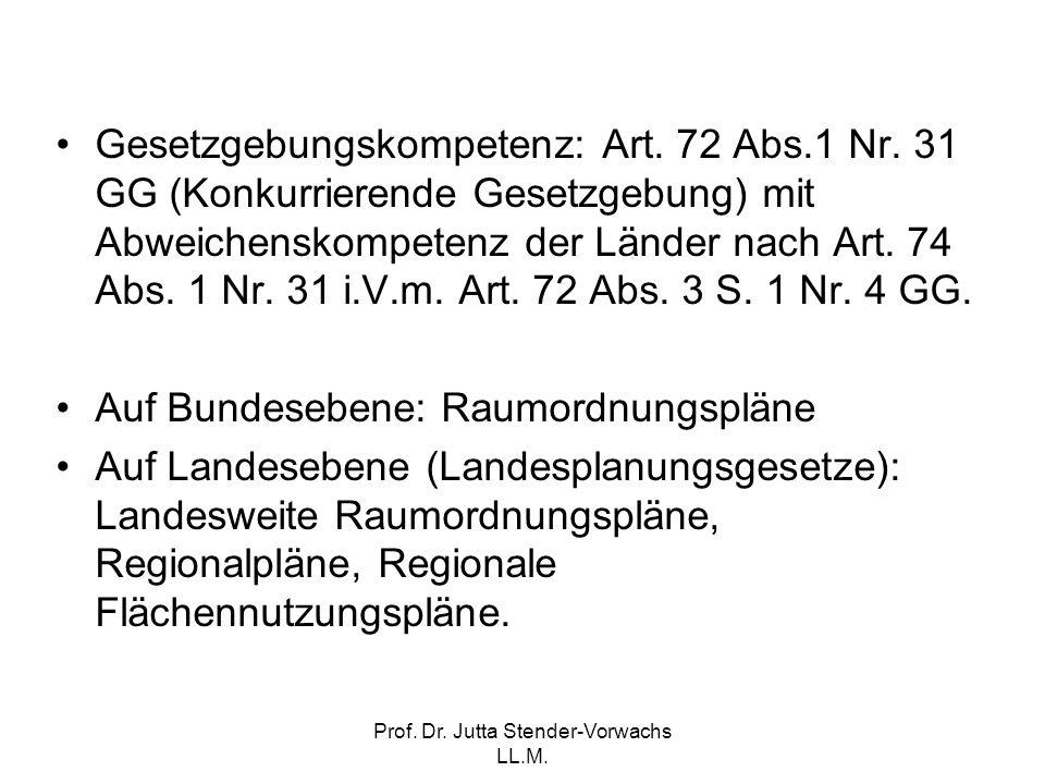 Prof. Dr. Jutta Stender-Vorwachs LL.M. Gesetzgebungskompetenz: Art. 72 Abs.1 Nr. 31 GG (Konkurrierende Gesetzgebung) mit Abweichenskompetenz der Lände