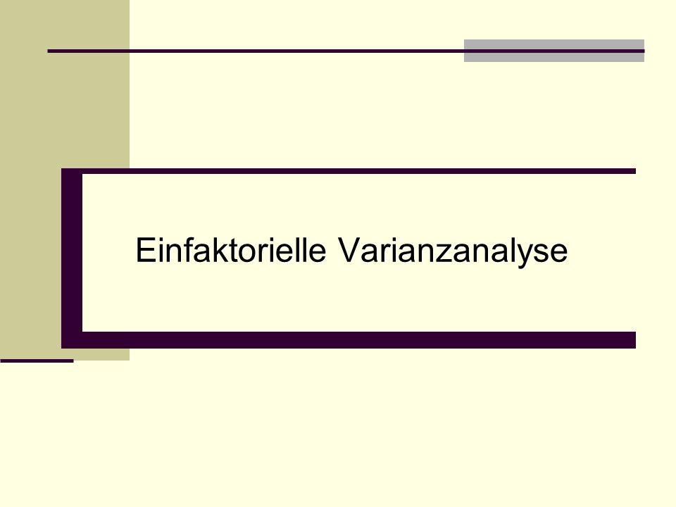 Ziel und Grundgedanke der Varianzanalyse Zerlegung der Varianzen bzw.