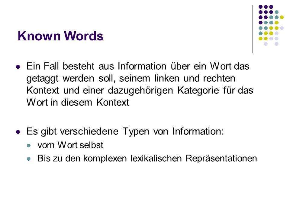 Known Words Ein Fall besteht aus Information über ein Wort das getaggt werden soll, seinem linken und rechten Kontext und einer dazugehörigen Kategori