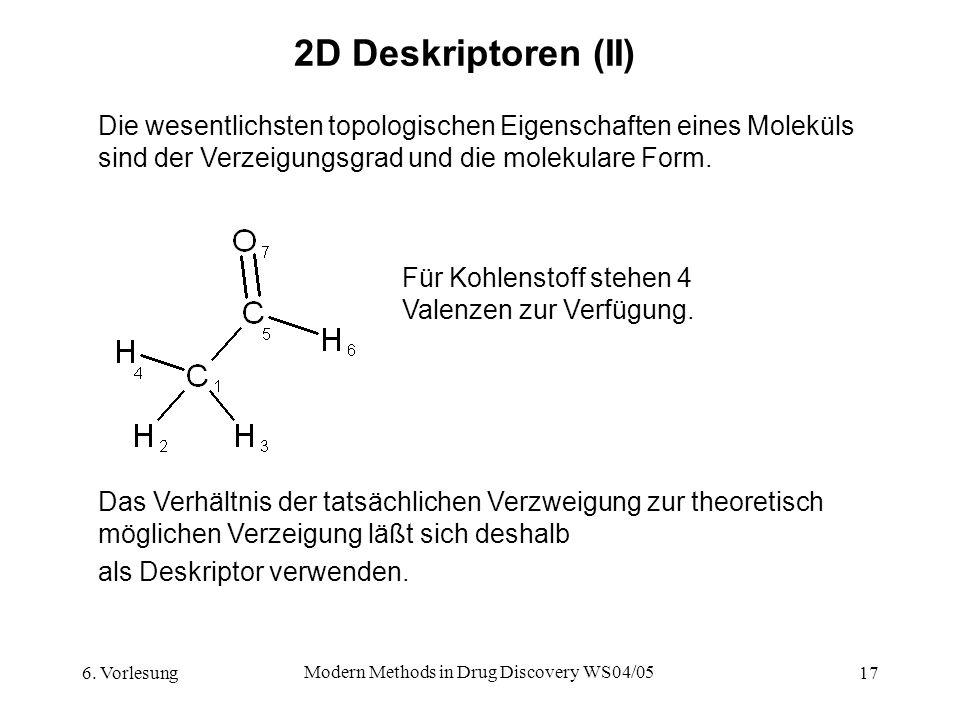 6. Vorlesung Modern Methods in Drug Discovery WS04/05 17 2D Deskriptoren (II) Die wesentlichsten topologischen Eigenschaften eines Moleküls sind der V
