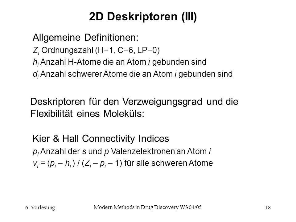 6. Vorlesung Modern Methods in Drug Discovery WS04/05 18 2D Deskriptoren (III) Deskriptoren für den Verzweigungsgrad und die Flexibilität eines Molekü