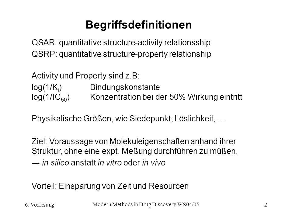 6. Vorlesung Modern Methods in Drug Discovery WS04/05 2 Begriffsdefinitionen QSAR: quantitative structure-activity relationsship QSRP: quantitative st