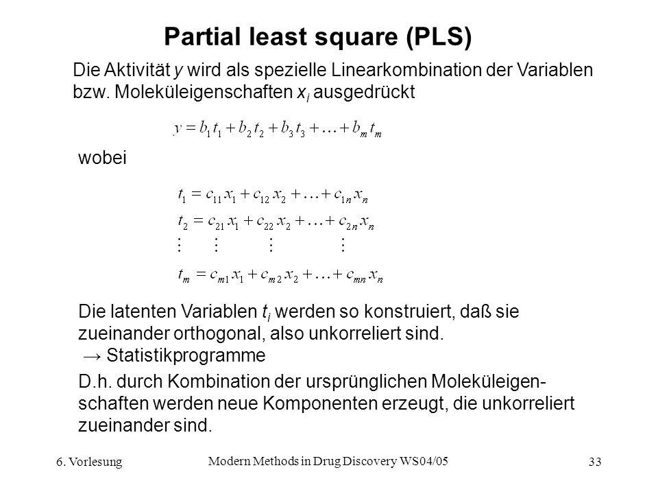 6. Vorlesung Modern Methods in Drug Discovery WS04/05 33 Partial least square (PLS) Die Aktivität y wird als spezielle Linearkombination der Variablen