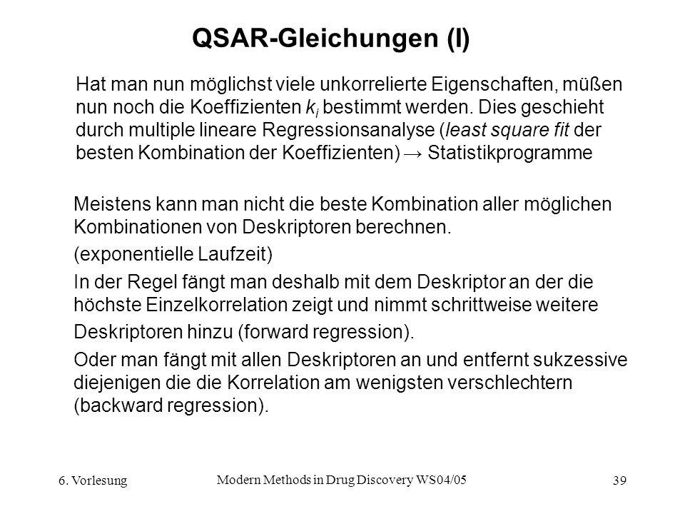 6. Vorlesung Modern Methods in Drug Discovery WS04/05 39 QSAR-Gleichungen (I) Hat man nun möglichst viele unkorrelierte Eigenschaften, müßen nun noch