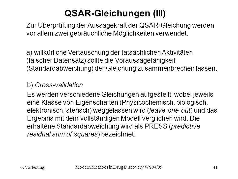 6. Vorlesung Modern Methods in Drug Discovery WS04/05 41 QSAR-Gleichungen (III) Zur Überprüfung der Aussagekraft der QSAR-Gleichung werden vor allem z