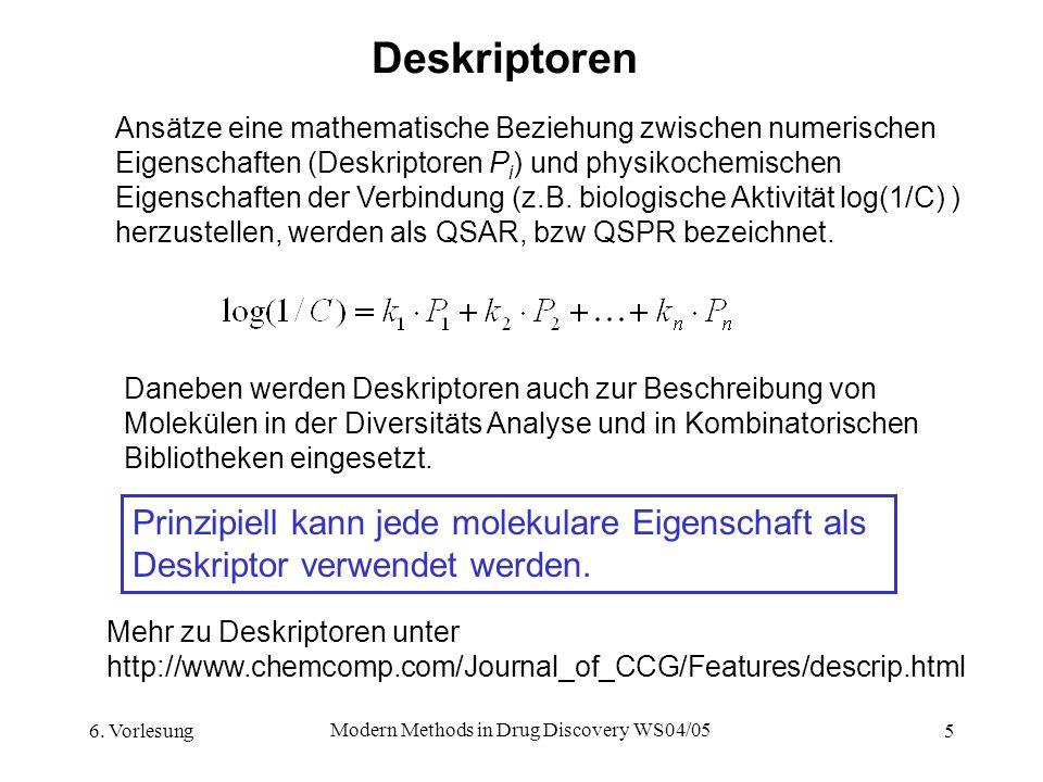 6. Vorlesung Modern Methods in Drug Discovery WS04/05 5 Deskriptoren Ansätze eine mathematische Beziehung zwischen numerischen Eigenschaften (Deskript