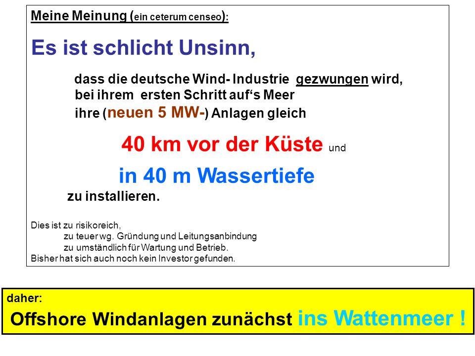 Meine Meinung ( ein ceterum censeo ) : Es ist schlicht Unsinn, dass die deutsche Wind- Industrie gezwungen wird, bei ihrem ersten Schritt aufs Meer ih