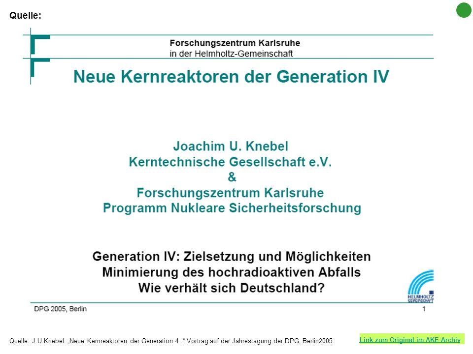 Link zum Original im AKE-Archiv Quelle: J.U.Knebel: Neue Kernreaktoren der Generation 4. Vortrag auf der Jahrestagung der DPG, Berlin2005 Quelle: