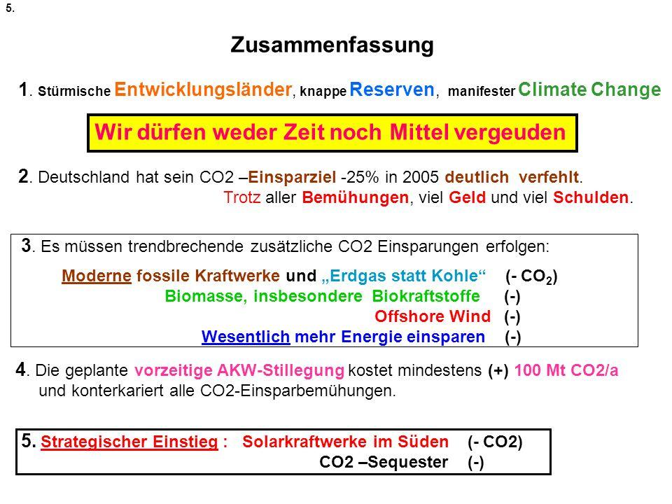 Zusammenfassung 1. Stürmische Entwicklungsländer, knappe Reserven, manifester Climate Change 2. Deutschland hat sein CO2 –Einsparziel -25% in 2005 deu