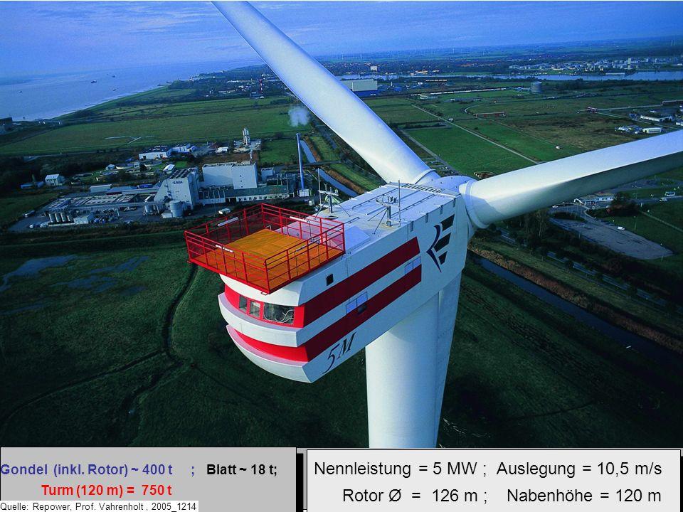 Nennleistung = 5 MW ; Auslegung = 10,5 m/s Rotor Ø = 126 m ; Nabenhöhe = 120 m Nennleistung = 5 MW ; Auslegung = 10,5 m/s Rotor Ø = 126 m ; Nabenhöhe