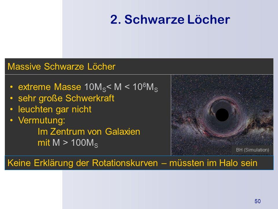 Die Urknallthe orie Einleitung Was besagt die Theorie? Wodurch wird sie gestützt? Kritikpunkte 50 2. Schwarze Löcher extreme Masse 10M S < M < 10 6 M