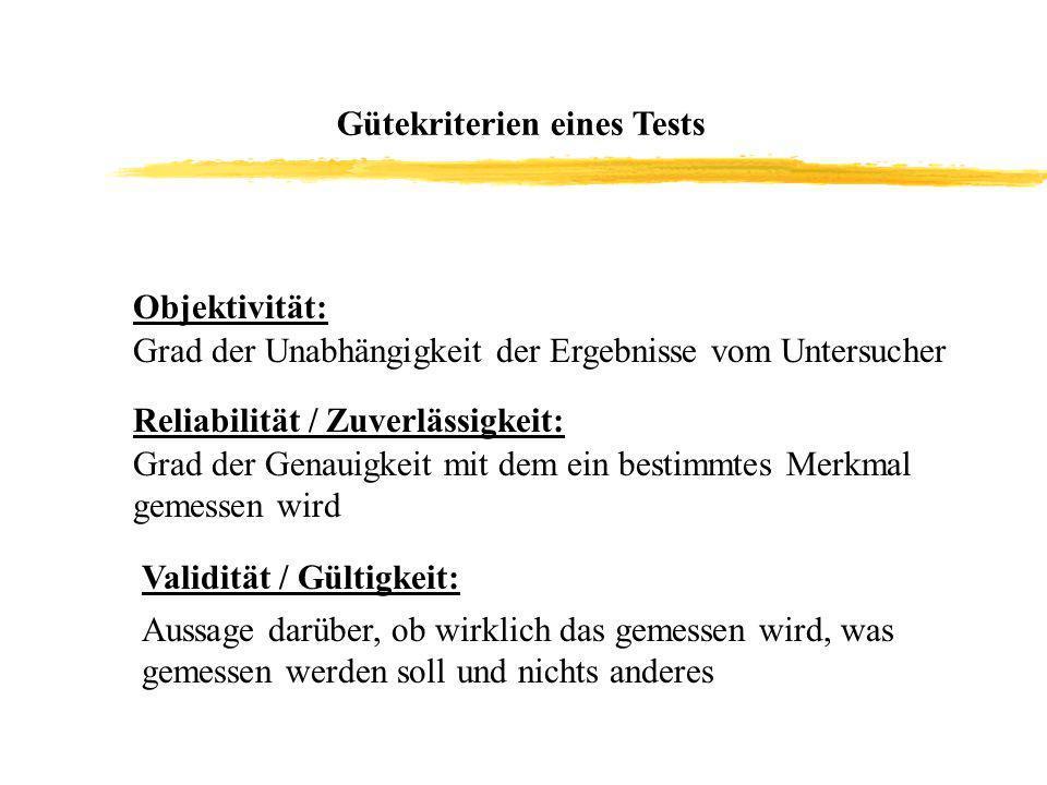 Gütekriterien eines Tests Objektivität: Grad der Unabhängigkeit der Ergebnisse vom Untersucher Reliabilität / Zuverlässigkeit: Grad der Genauigkeit mi