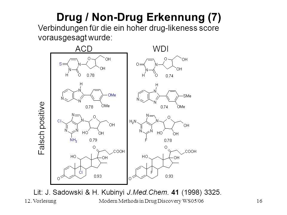 12. VorlesungModern Methods in Drug Discovery WS05/0616 Drug / Non-Drug Erkennung (7) Verbindungen für die ein hoher drug-likeness score vorausgesagt