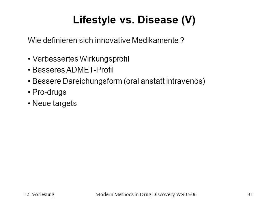 12. VorlesungModern Methods in Drug Discovery WS05/0631 Lifestyle vs. Disease (V) Wie definieren sich innovative Medikamente ? Verbessertes Wirkungspr