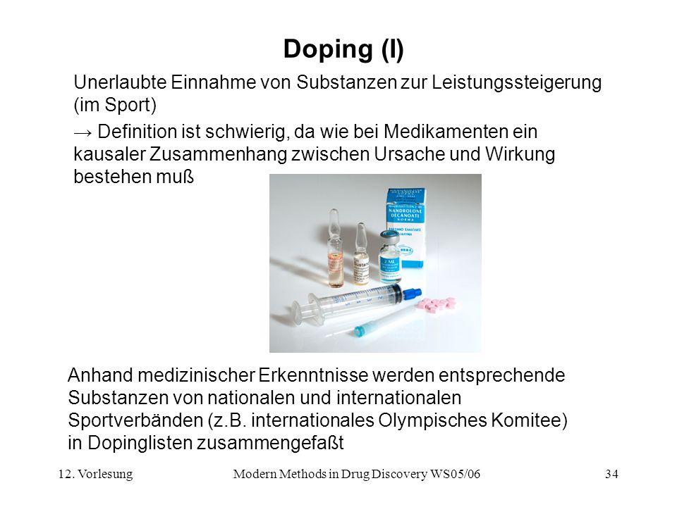 12. VorlesungModern Methods in Drug Discovery WS05/0634 Doping (I) Unerlaubte Einnahme von Substanzen zur Leistungssteigerung (im Sport) Definition is