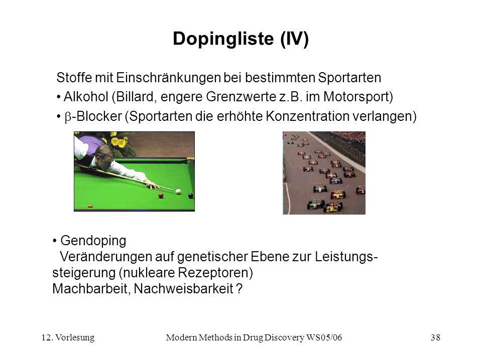 12. VorlesungModern Methods in Drug Discovery WS05/0638 Dopingliste (IV) Stoffe mit Einschränkungen bei bestimmten Sportarten Alkohol (Billard, engere