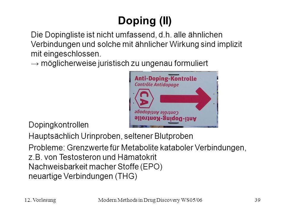 12. VorlesungModern Methods in Drug Discovery WS05/0639 Doping (II) Die Dopingliste ist nicht umfassend, d.h. alle ähnlichen Verbindungen und solche m
