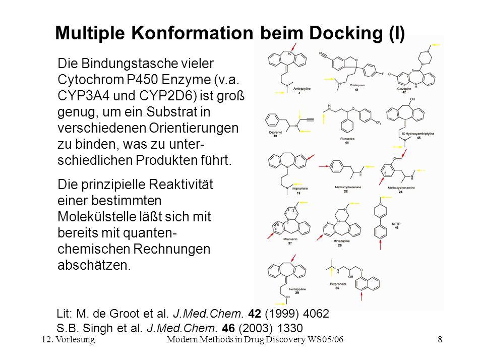 12. VorlesungModern Methods in Drug Discovery WS05/068 Multiple Konformation beim Docking (I) Die Bindungstasche vieler Cytochrom P450 Enzyme (v.a. CY