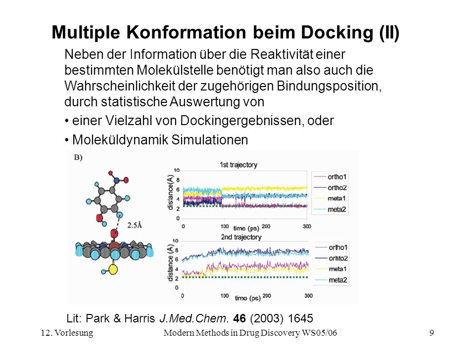 12. VorlesungModern Methods in Drug Discovery WS05/069 Multiple Konformation beim Docking (II) Lit: Park & Harris J.Med.Chem. 46 (2003) 1645 Neben der