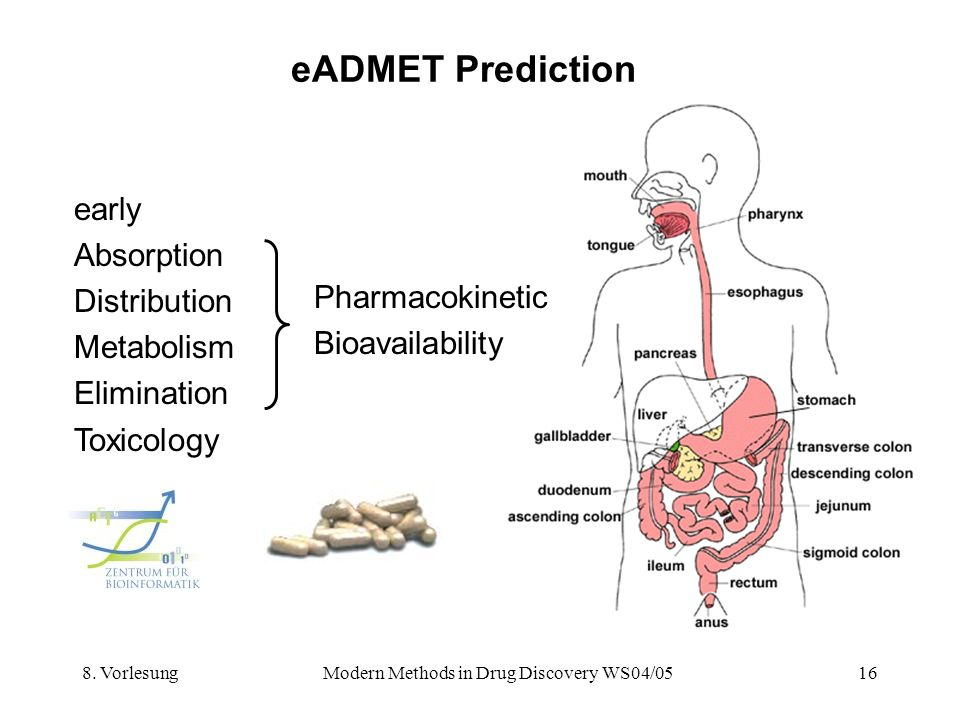 8. VorlesungModern Methods in Drug Discovery WS04/0516 eADMET Prediction early Absorption Distribution Metabolism Elimination Toxicology Pharmacokinet