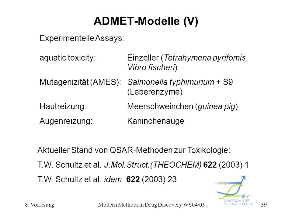 8. VorlesungModern Methods in Drug Discovery WS04/0539 ADMET-Modelle (V) Experimentelle Assays: aquatic toxicity:Einzeller (Tetrahymena pyrifomis, Vib