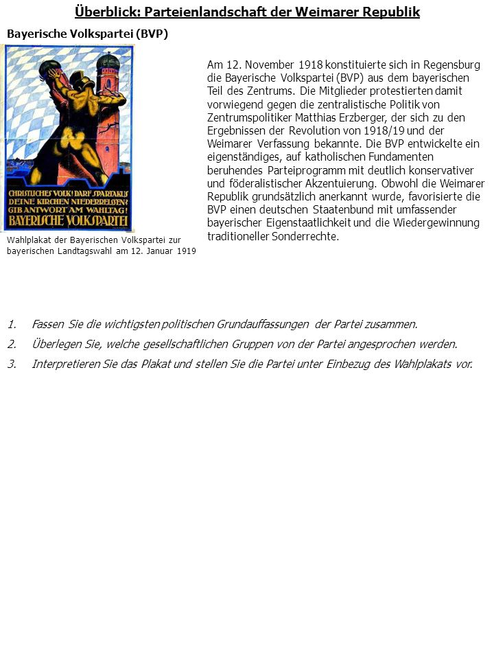 Überblick: Parteienlandschaft der Weimarer Republik Deutsche Arbeiterpartei (DAP)/Nationalsozialistische Deutsche Arbeiterpartei (NSDAP) Die am 5.