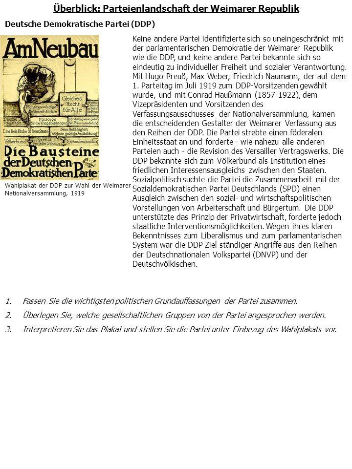 Nach dem Zusammenbruch des Kaiserreichs im Herbst 1918 formierten sich die Parteien neu.
