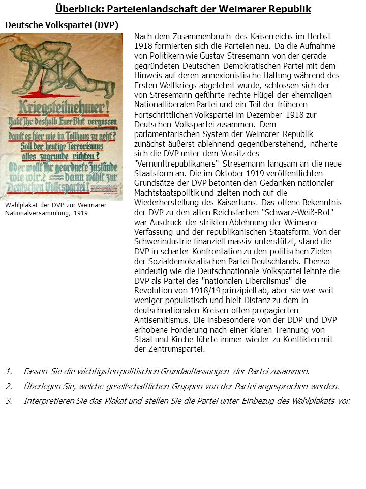 Überblick: Parteienlandschaft der Weimarer Republik Kommunistische Partei Deutschlands (KPD) In den Wirren der Revolution von 1918/19 gründeten Vertreter des Spartakusbunds und der Internationalen Kommunisten Deutschlands in Berlin Ende Dezember 1918 die Kommunistische Partei Deutschlands (KPD).