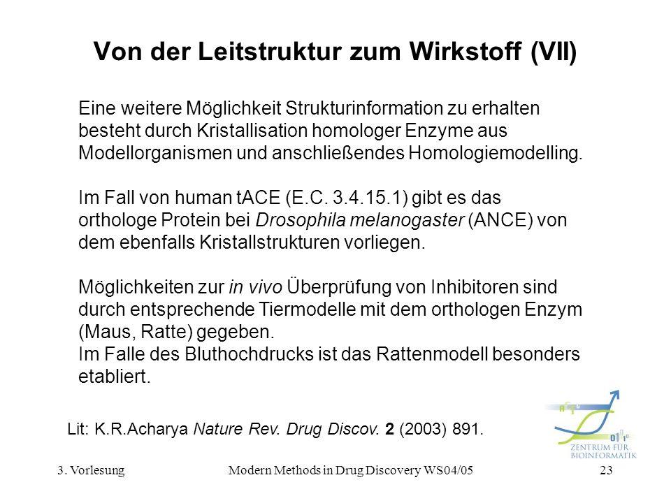 3. VorlesungModern Methods in Drug Discovery WS04/0523 Von der Leitstruktur zum Wirkstoff (VII) Eine weitere Möglichkeit Strukturinformation zu erhalt
