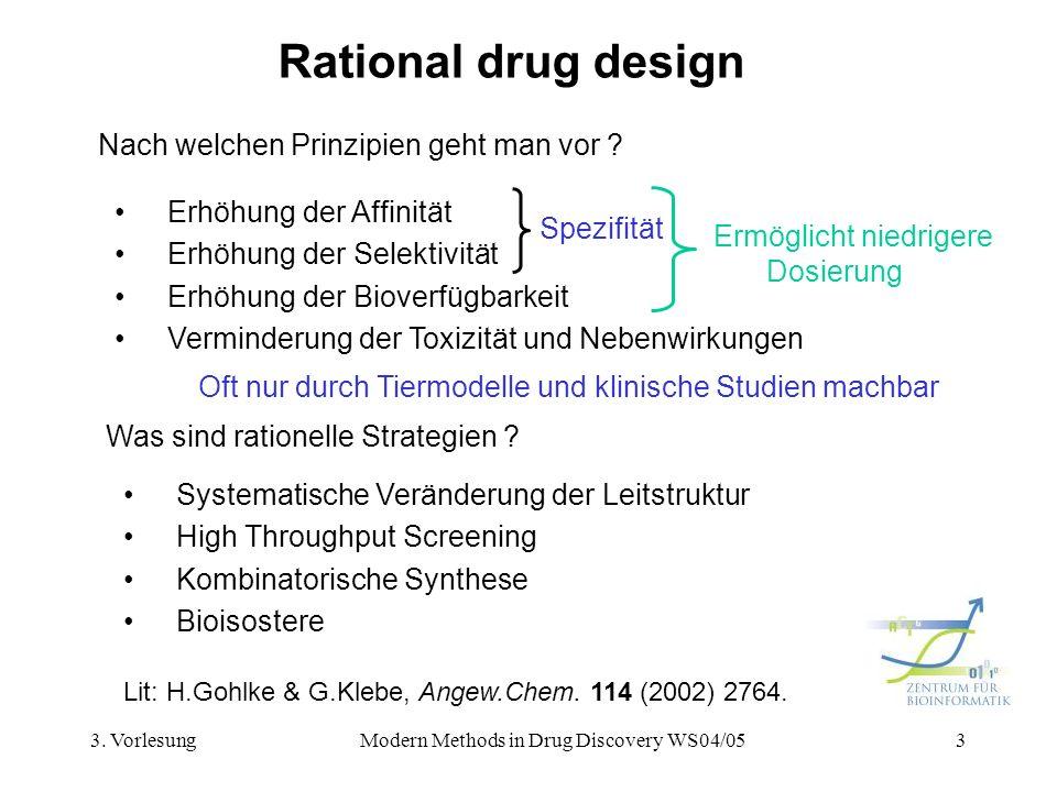 3. VorlesungModern Methods in Drug Discovery WS04/053 Rational drug design Nach welchen Prinzipien geht man vor ? Was sind rationelle Strategien ? Sys