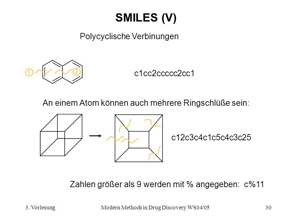 3. VorlesungModern Methods in Drug Discovery WS04/0530 SMILES (V) Polycyclische Verbinungen c1cc2ccccc2cc1 1 2 c12c3c4c1c5c4c3c25 An einem Atom können