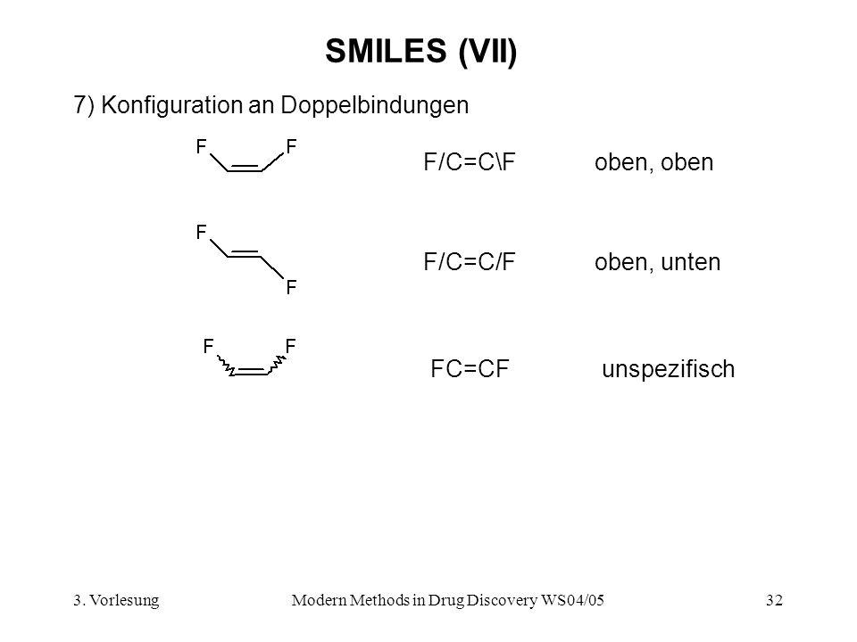 3. VorlesungModern Methods in Drug Discovery WS04/0532 SMILES (VII) 7) Konfiguration an Doppelbindungen F/C=C\Foben, oben F/C=C/Foben, unten FC=CFunsp