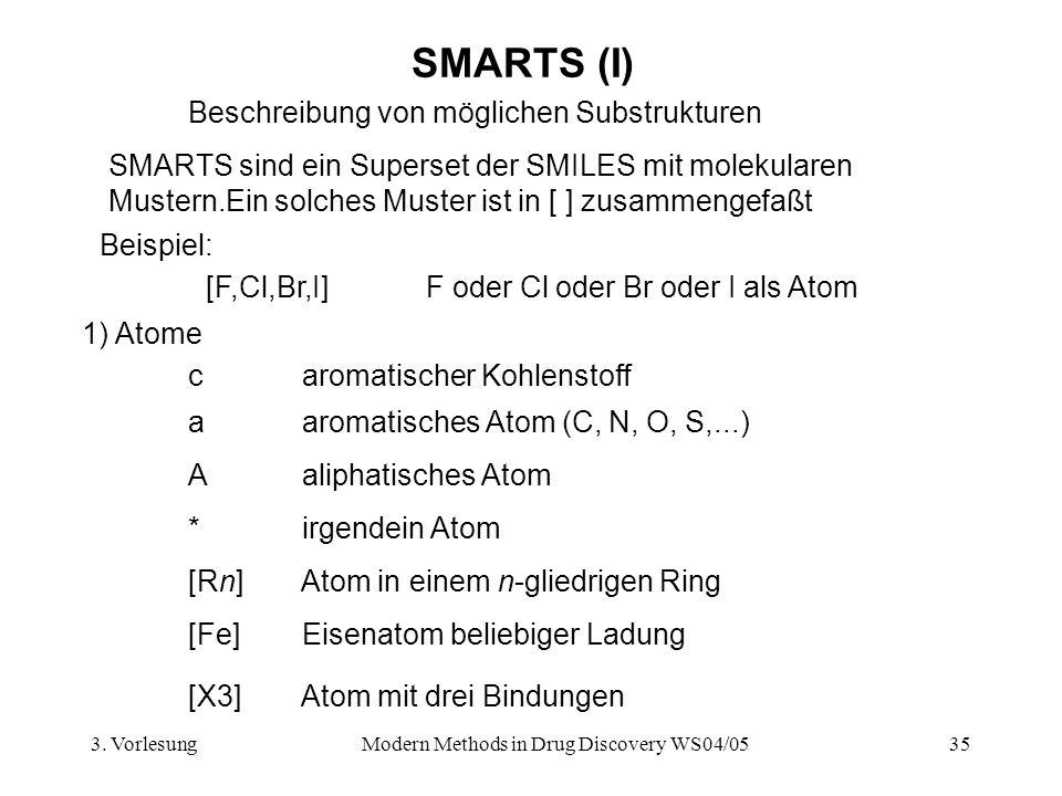 3. VorlesungModern Methods in Drug Discovery WS04/0535 SMARTS (I) Beispiel: [F,Cl,Br,I] F oder Cl oder Br oder I als Atom * irgendein Atom a aromatisc