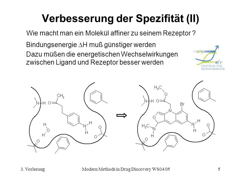 3. VorlesungModern Methods in Drug Discovery WS04/055 Verbesserung der Spezifität (II) Wie macht man ein Molekül affiner zu seinem Rezeptor ? Bindungs