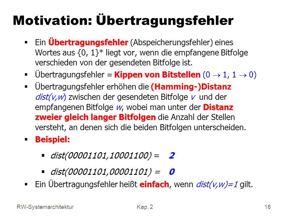 RW-SystemarchitekturKap. 2 16 Motivation: Übertragungsfehler Übertragungsfehler Ein Übertragungsfehler (Abspeicherungsfehler) eines Wortes aus {0, 1}*