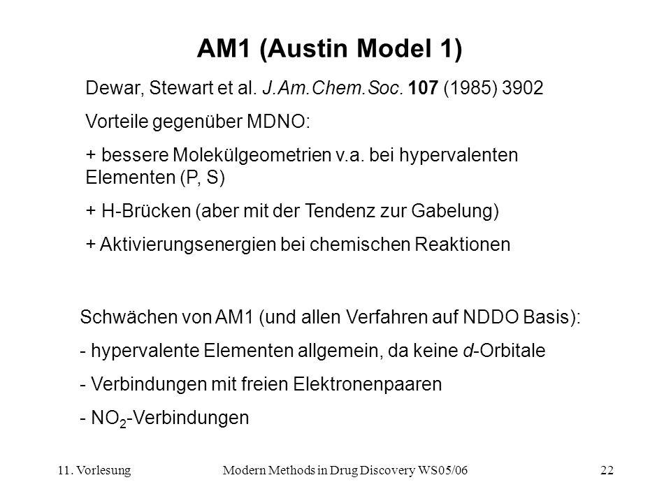 11. VorlesungModern Methods in Drug Discovery WS05/0622 AM1 (Austin Model 1) Dewar, Stewart et al. J.Am.Chem.Soc. 107 (1985) 3902 Vorteile gegenüber M