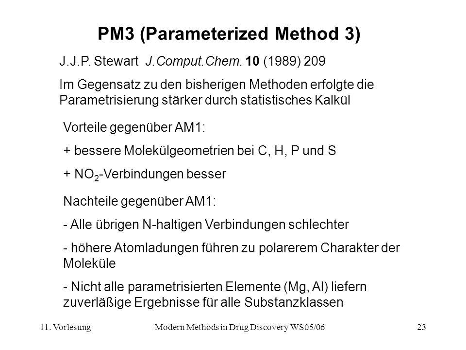 11. VorlesungModern Methods in Drug Discovery WS05/0623 PM3 (Parameterized Method 3) J.J.P. Stewart J.Comput.Chem. 10 (1989) 209 Im Gegensatz zu den b