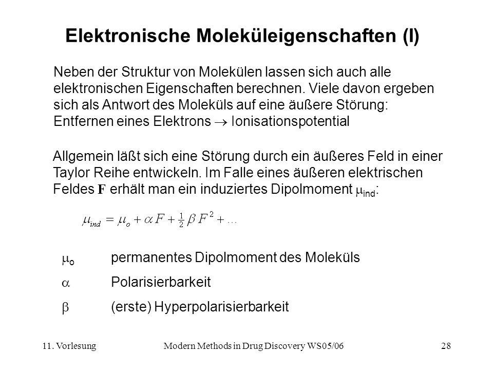 11. VorlesungModern Methods in Drug Discovery WS05/0628 Elektronische Moleküleigenschaften (I) Neben der Struktur von Molekülen lassen sich auch alle