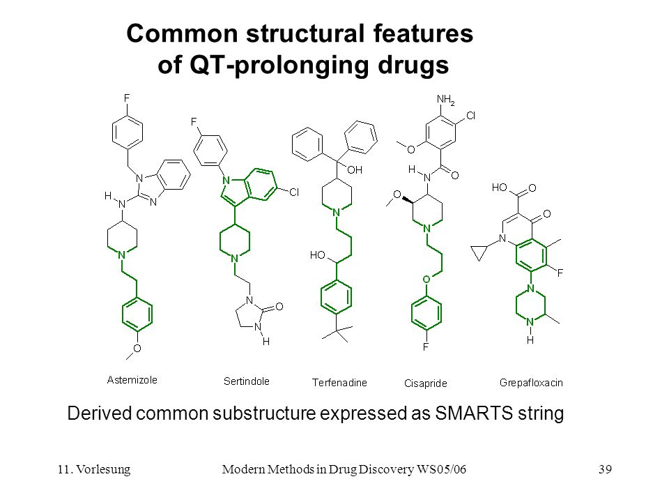 11. VorlesungModern Methods in Drug Discovery WS05/0639 Common structural features of QT-prolonging drugs Derived common substructure expressed as SMA