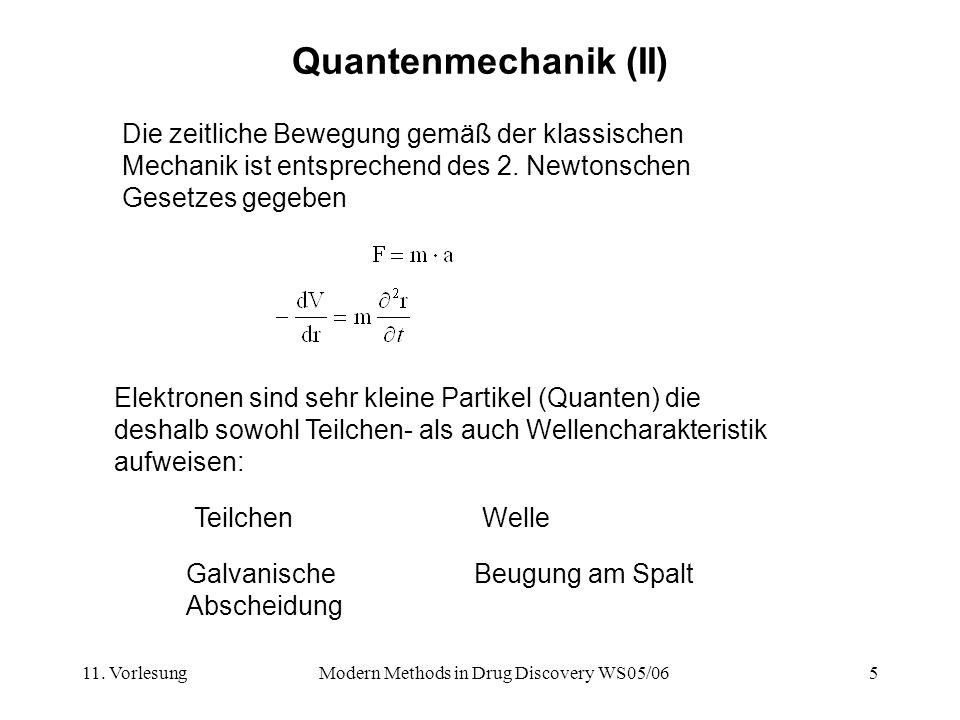 11. VorlesungModern Methods in Drug Discovery WS05/065 Quantenmechanik (II) Die zeitliche Bewegung gemäß der klassischen Mechanik ist entsprechend des