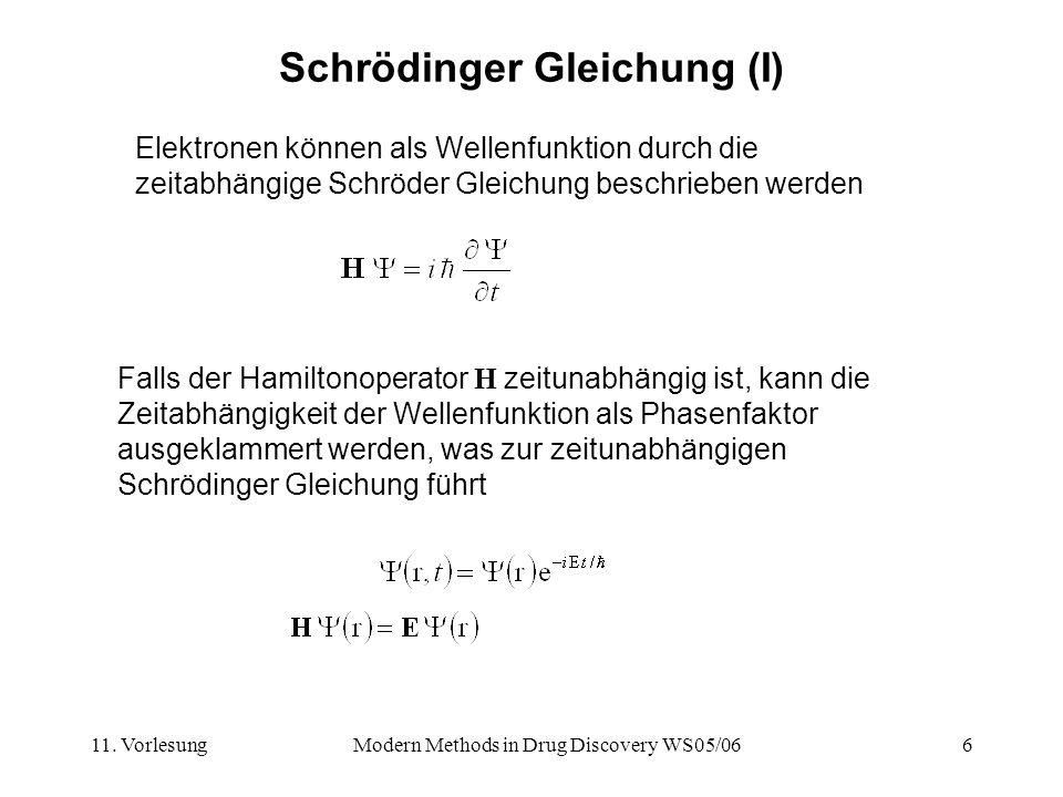 11. VorlesungModern Methods in Drug Discovery WS05/066 Schrödinger Gleichung (I) Elektronen können als Wellenfunktion durch die zeitabhängige Schröder