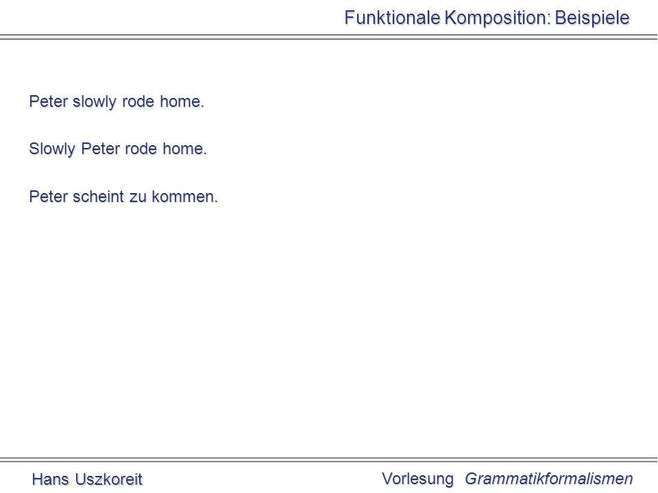Vorlesung Grammatikformalismen Hans Uszkoreit Funktionale Komposition: Beispiele Peter slowly rode home.