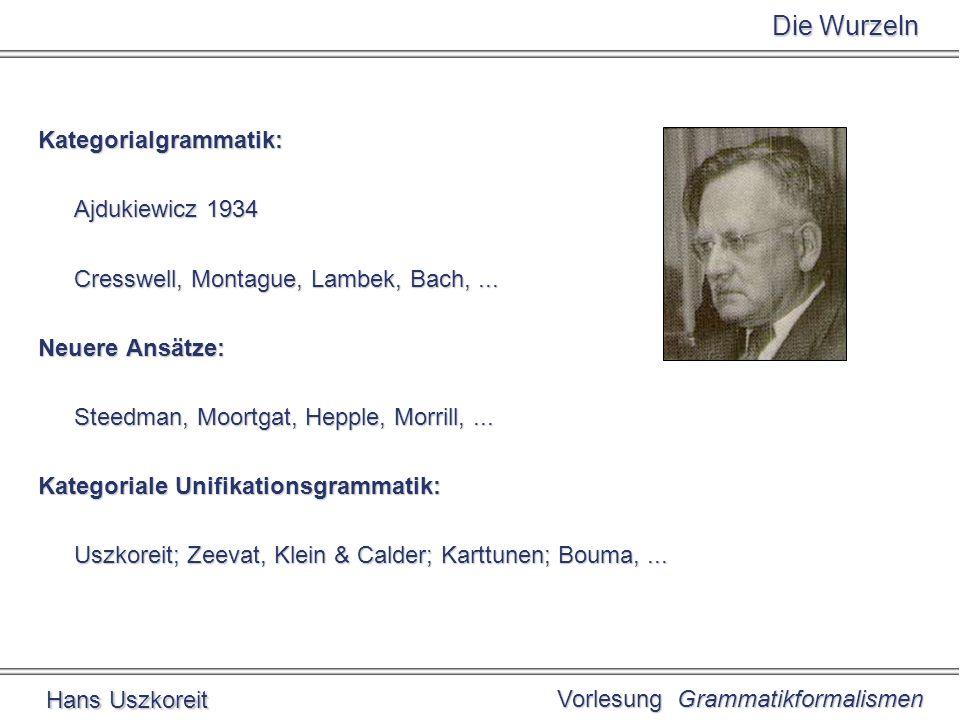 Vorlesung Grammatikformalismen Hans Uszkoreit Kategorien Mindestens zwei Basiskategorien: N und S Mindestens ein Funktor-Markierer: / meist auch \ Potentiell unendlich viele abgeleitete Kategorien: wenn und Kategorien sind, dann ist auch eine Kategorie z.B.