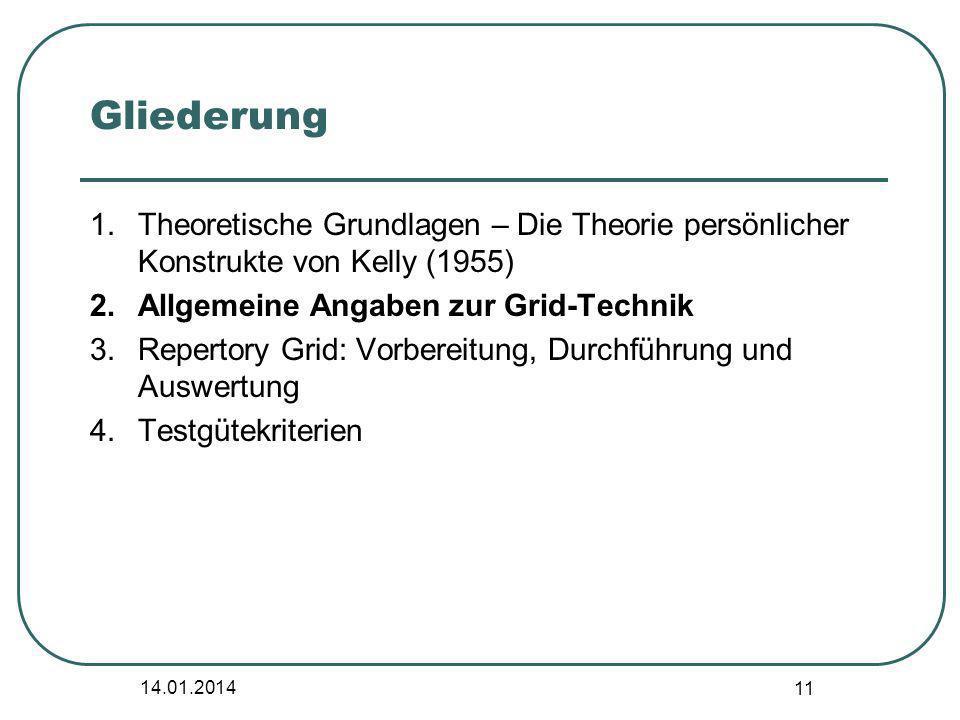 14.01.2014 11 Gliederung 1.Theoretische Grundlagen – Die Theorie persönlicher Konstrukte von Kelly (1955) 2.Allgemeine Angaben zur Grid-Technik 3.Repe