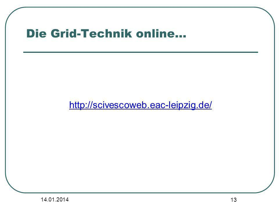 14.01.2014 13 Die Grid-Technik online… http://scivescoweb.eac-leipzig.de/