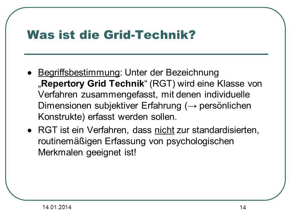 14.01.2014 14 Was ist die Grid-Technik? Begriffsbestimmung: Unter der BezeichnungRepertory Grid Technik (RGT) wird eine Klasse von Verfahren zusammeng