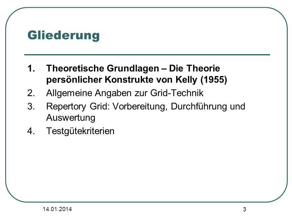 3 Gliederung 1.Theoretische Grundlagen – Die Theorie persönlicher Konstrukte von Kelly (1955) 2.Allgemeine Angaben zur Grid-Technik 3.Repertory Grid: