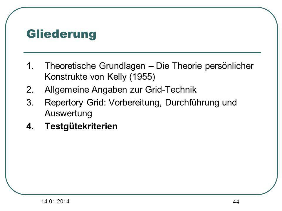 14.01.2014 44 Gliederung 1.Theoretische Grundlagen – Die Theorie persönlicher Konstrukte von Kelly (1955) 2.Allgemeine Angaben zur Grid-Technik 3.Repe