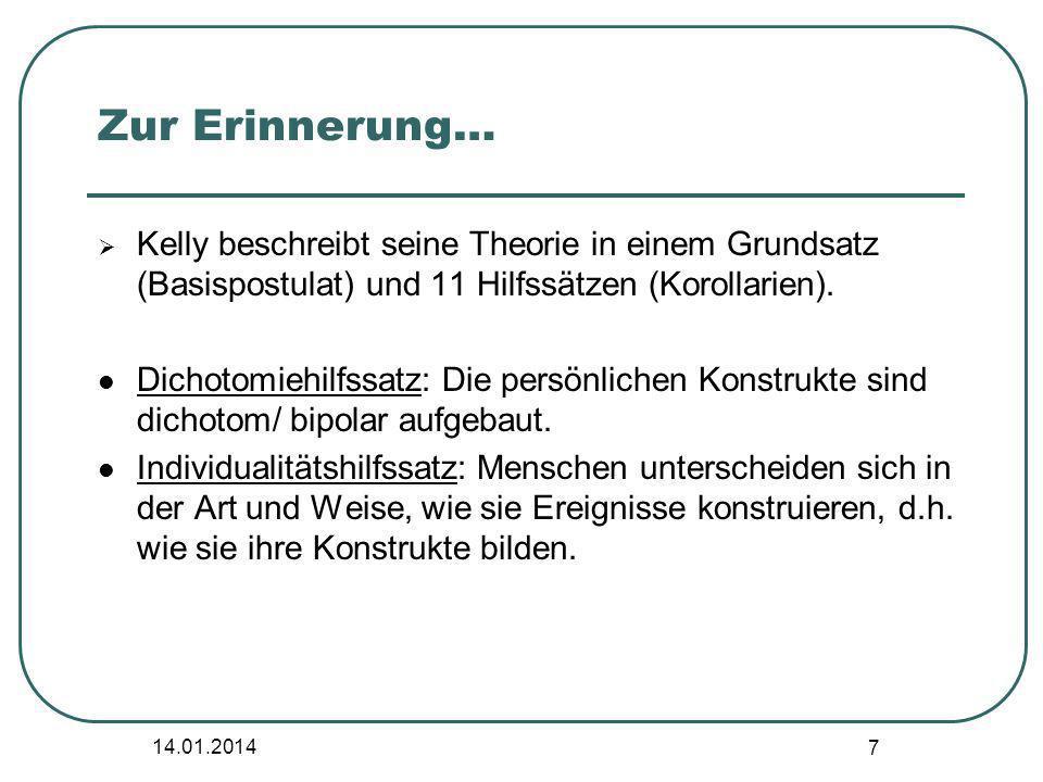 14.01.2014 7 Zur Erinnerung… Kelly beschreibt seine Theorie in einem Grundsatz (Basispostulat) und 11 Hilfssätzen (Korollarien). Dichotomiehilfssatz: